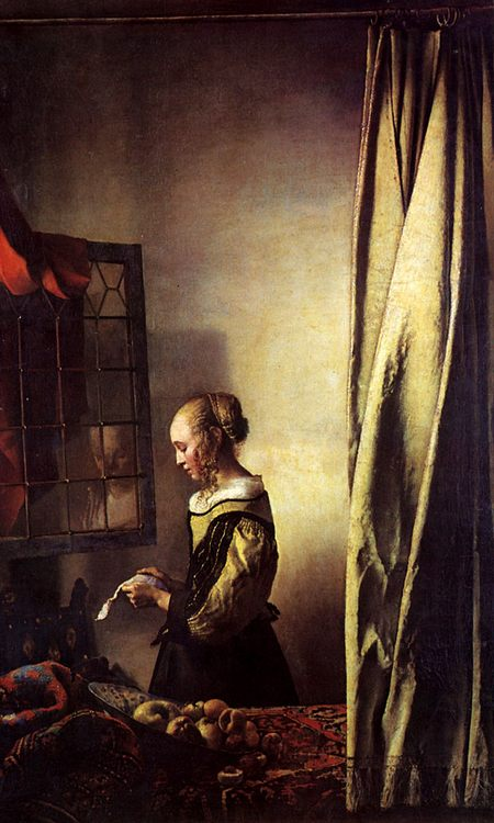 Girl Reading a Letter at an Open Window :: Johannes Vermeer - 3 women portraits 17th century hall фото