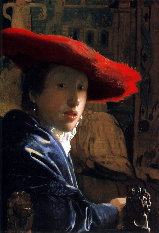Girl with a Red Hat :: Johannes Vermeer - 3 women portraits 17th century hall фото
