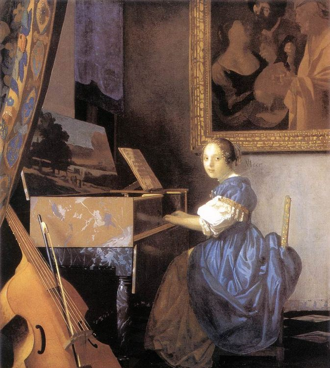 Lady Seated at a Virginal :: Johannes Vermeer - 3 women portraits 17th century hall ôîòî