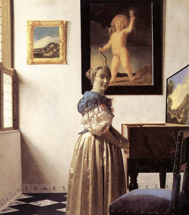 Lady Standing at a Virginal :: Johannes Vermeer - Interiors in art and painting фото