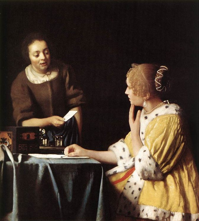 Lady with Her Maidservant Holding a Letter :: Johannes Vermeer - 3 women portraits 17th century hall фото
