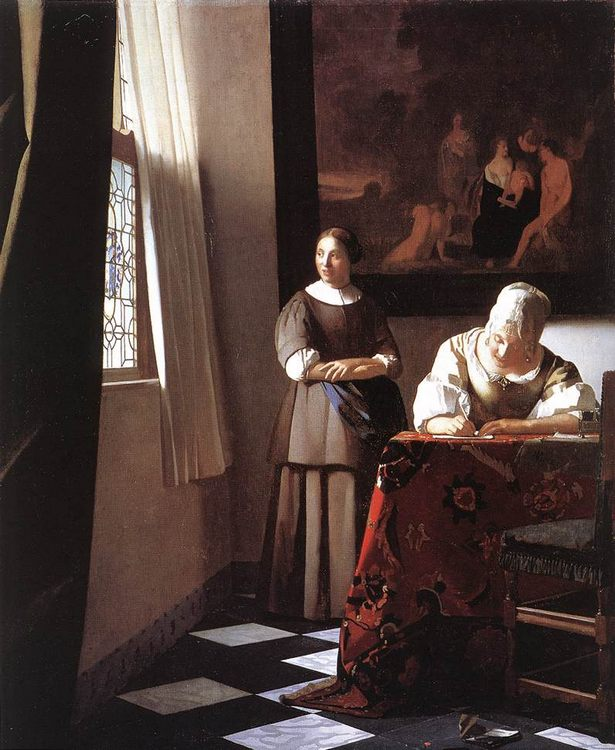 Lady Writing a Letter with Her Maid :: Johannes Vermeer - 3 women portraits 17th century hall фото