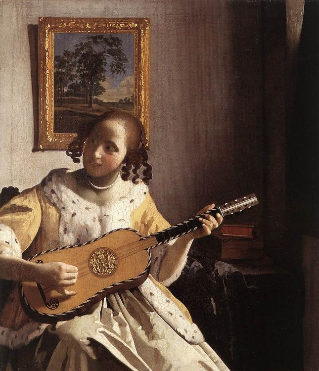 The Guitar Player :: Johannes Vermeer - 3 women portraits 17th century hall ôîòî