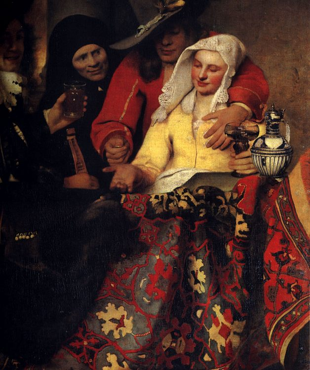 The Procuress :: Johannes Vermeer - 3 women portraits 17th century hall фото