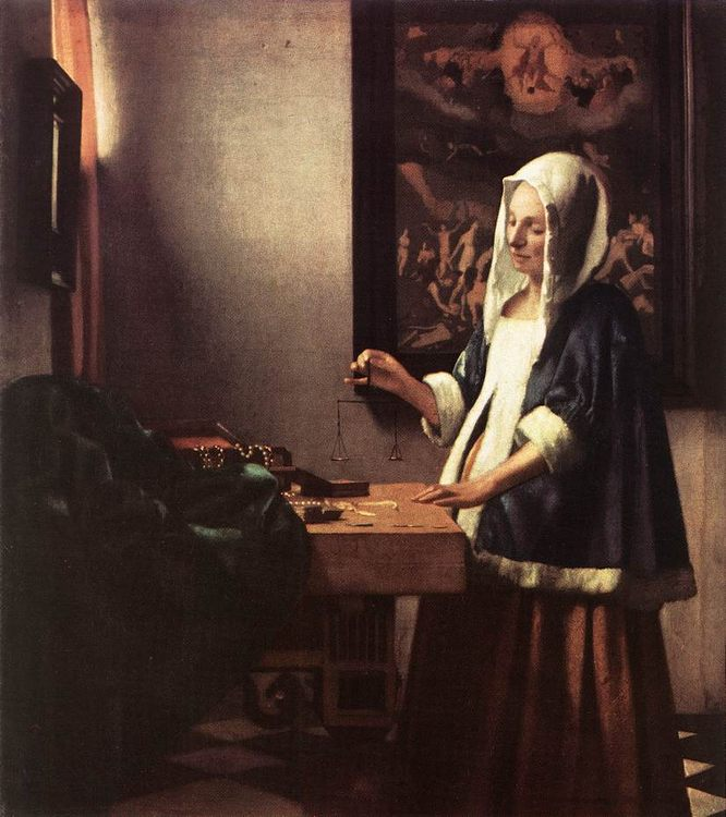 Woman Holding a Balance :: Johannes Vermeer - 3 women portraits 17th century hall фото