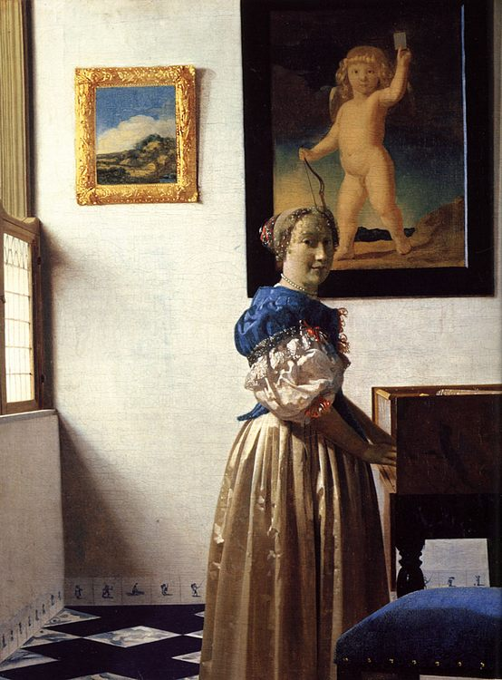 Young Woman Standing at a Virginal :: Johannes Vermeer - 3 women portraits 17th century hall фото
