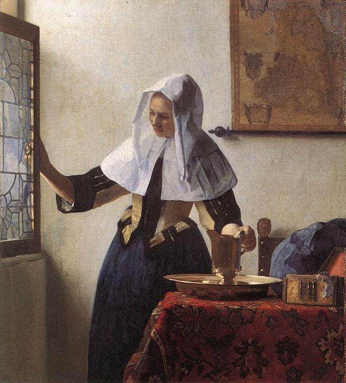 Young Woman with a Water Jug :: Johannes Vermeer - 3 women portraits 17th century hall фото