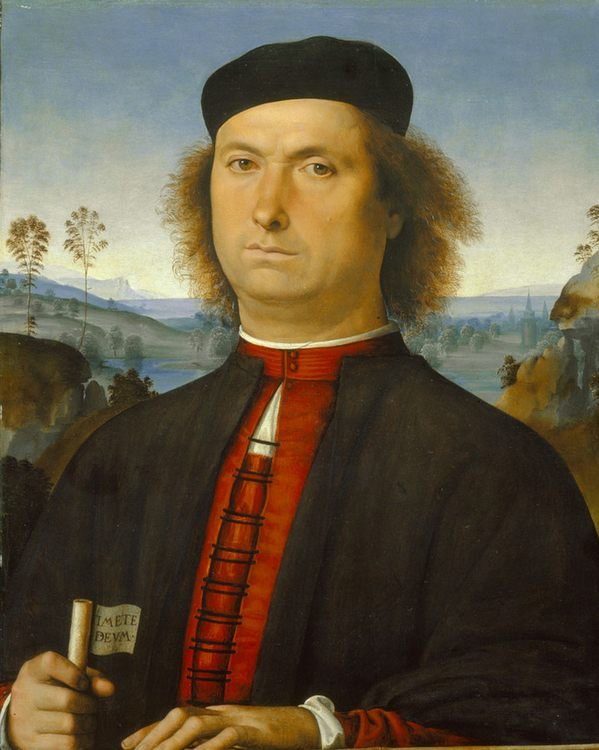 Portrait of Francesco delle Opere :: Perugino - men's portraits 15th century hall фото