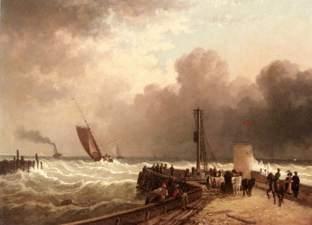 Shipping Approaching The Harbour Mouth In A Rough Sea :: John Jock Wilson - Sea landscapes with ships фото