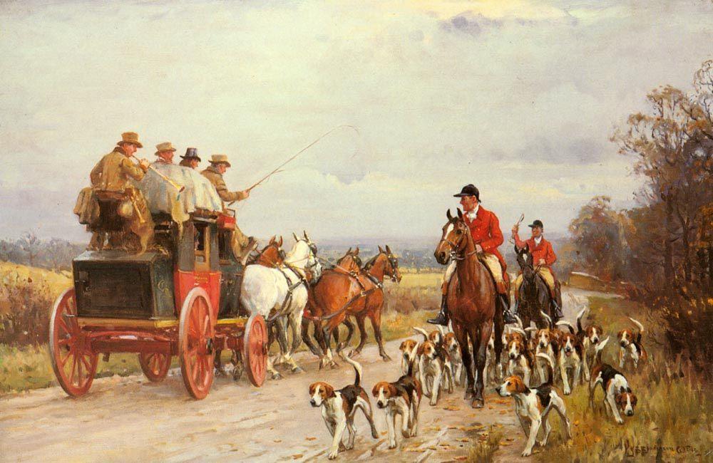 A Hunt Passing a Coach :: John Sanderson Wells - Hunting scenes фото