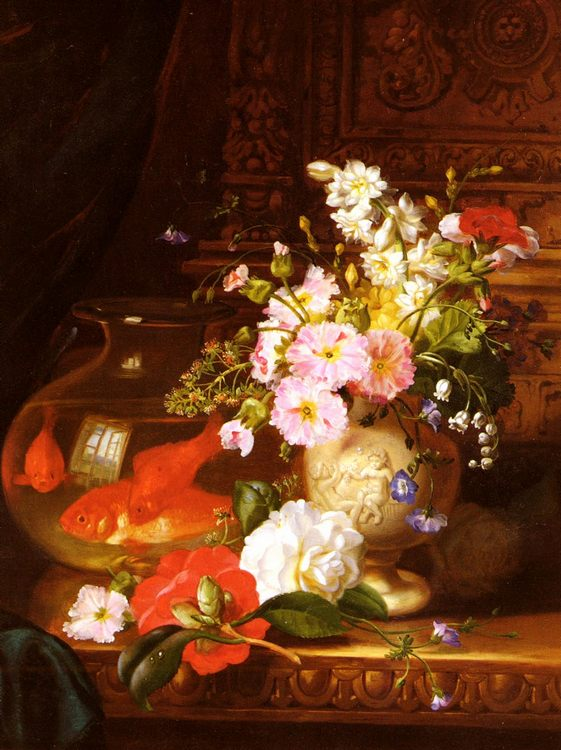 Still Life With Camellias, Primroses And Lily Of The Valley In An Urn By A Goldfish Bowl :: John Wainwright - flowers in painting ôîòî