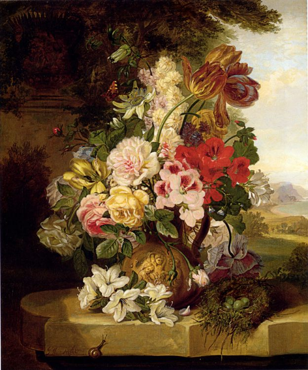Still Life With Tulips, Roses, Passion Flowers And A Butterfly :: John Wainwright - flowers in painting ôîòî