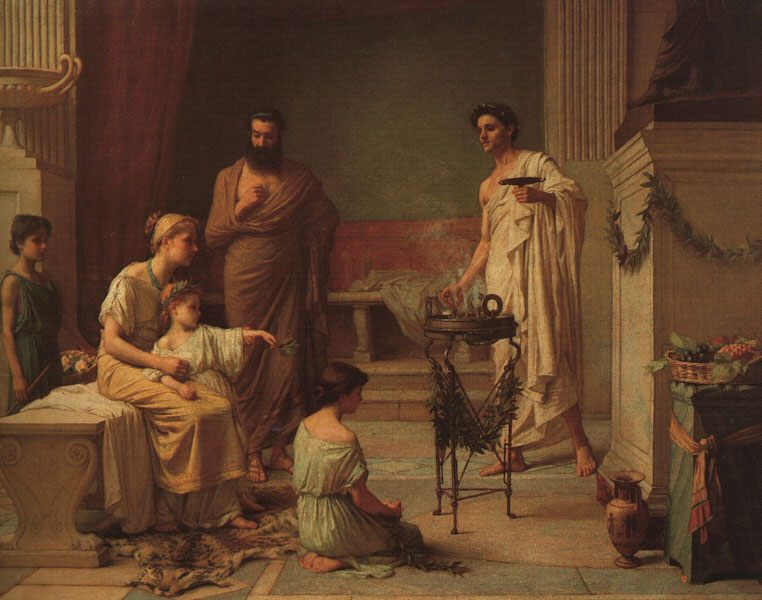 A Sick Child Brought into the Temple of Aesculapius :: John William Waterhouse - Antique world scenes фото