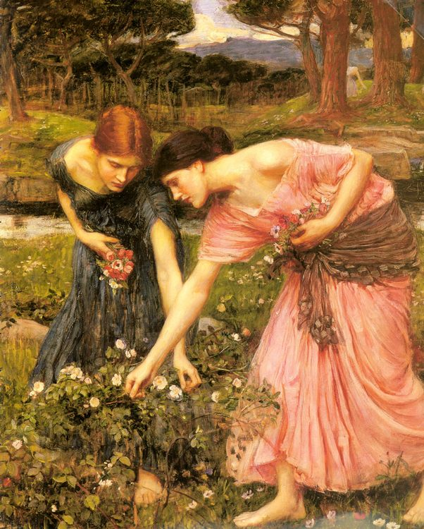 Gather ye Rosebuds while ye may :: John William Waterhouse - Young beauties portraits in art and painting фото