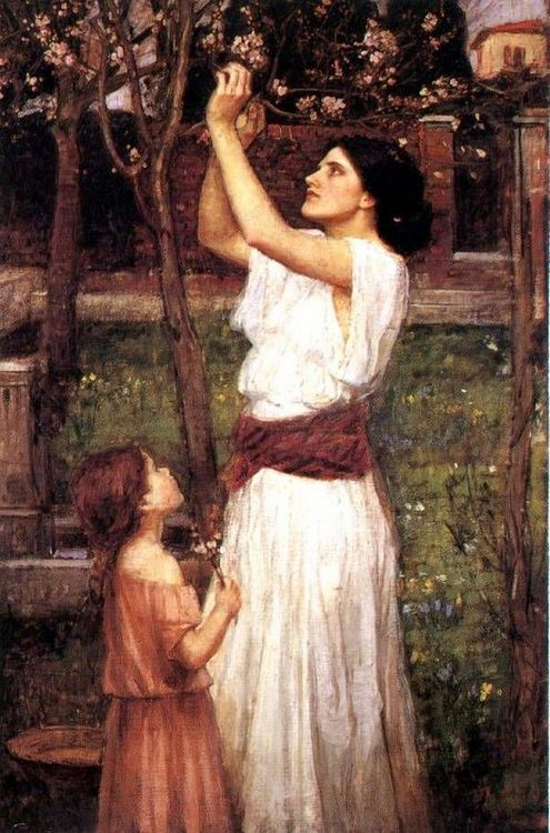 Gathering Almond Blossoms :: John William Waterhouse - Woman and child in painting and art ôîòî