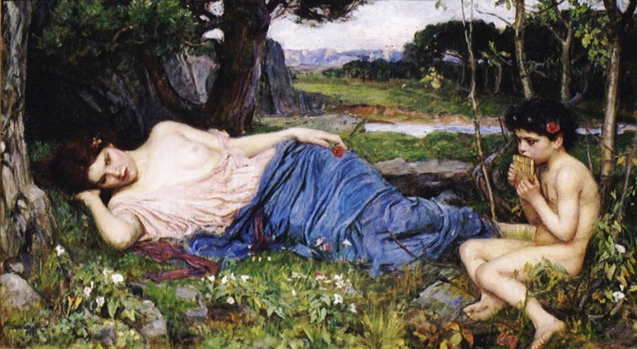 Listening to His Sweet Pipings :: John William Waterhouse - Young beauties portraits in art and painting ôîòî