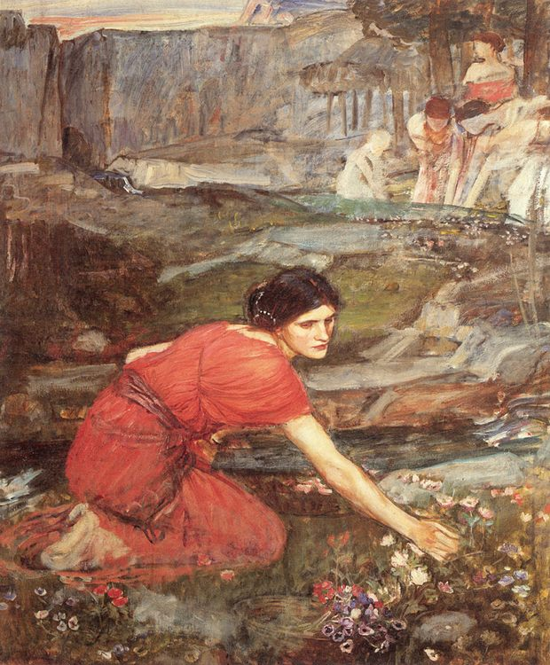 Maidens picking Flowers by a Stream :: John William Waterhouse - Young beauties portraits in art and painting фото