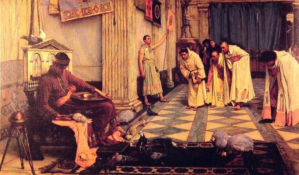 The Favourites of the Emperor Honorious :: John William Waterhouse - Antique world scenes фото