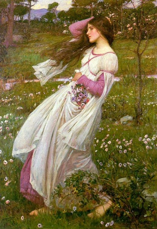 Windswept :: John William Waterhouse - Young beauties portraits in art and painting фото