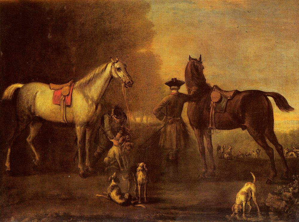 Before The Hunt :: John Wootton - Horses in art фото
