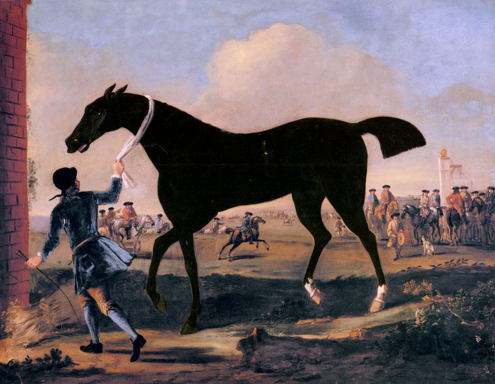 The Duke Of Rutland's Bonny Black Held By A Groom At Newmarket :: John Wootton - Horses in art фото