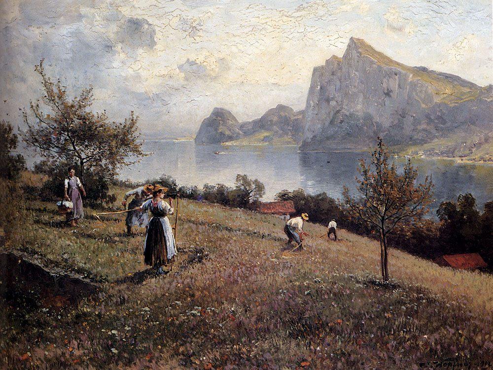 Harvesters By The Chiemsee :: Joseph Wopfner - River landscapes ôîòî