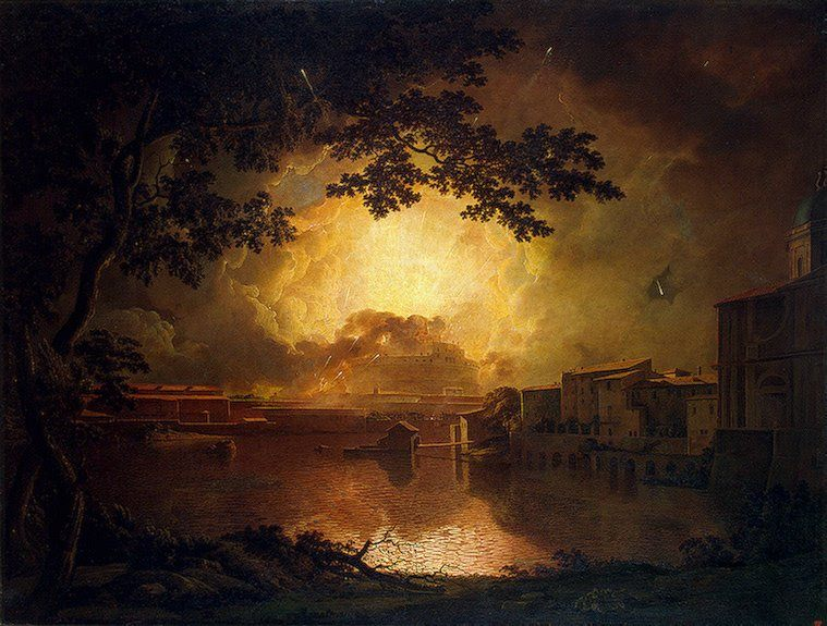 Firework Display at the Castel Sant' Angelo in Rome :: Joseph Wright of Derby - Italy ôîòî