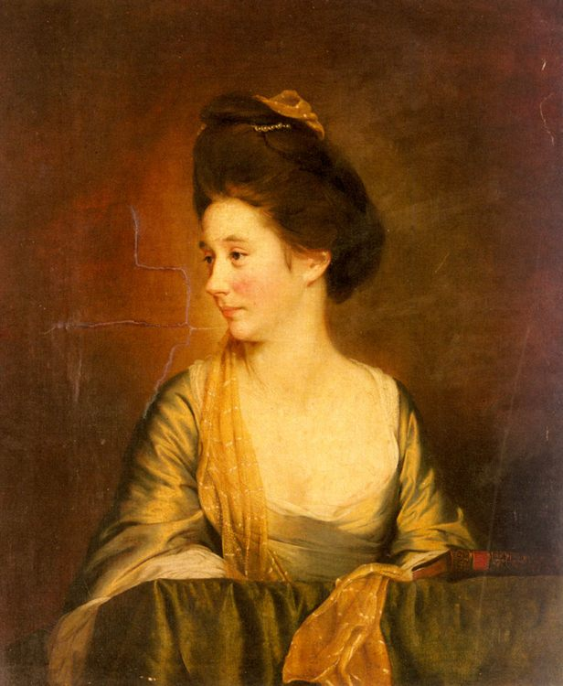 Portrait Of Susannah Leigh (1736-1804) :: Joseph Wright of Derby - 4 women's portraits 18th century hall фото