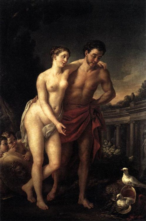 Venus Showing Mars her Doves Making a Nest in his Helmet :: Joseph-Marie Vien - nu art in mythology painting фото