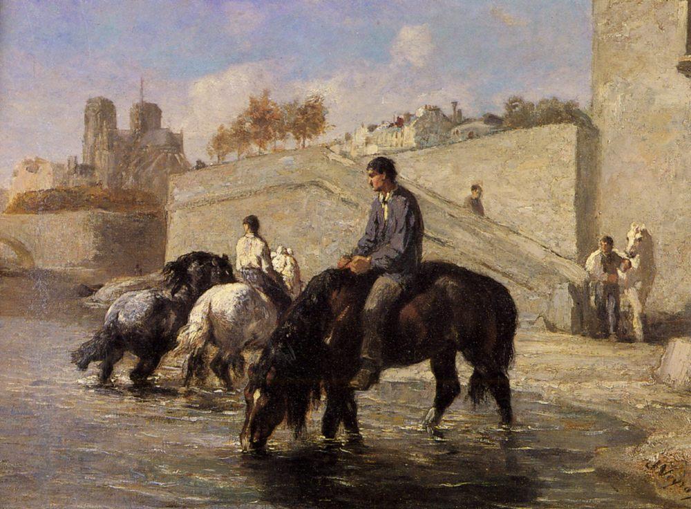 Horses drink from the Seine Notre Dame Derriere :: Jules Jacques Veyrassat - Horses in art ôîòî