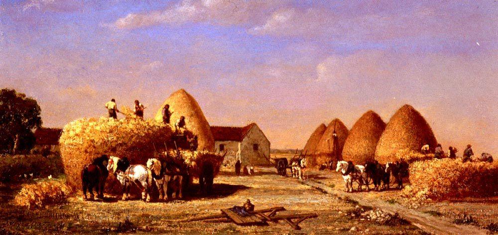 Haymaking :: Jules Jacques Veyrassat - Village life фото