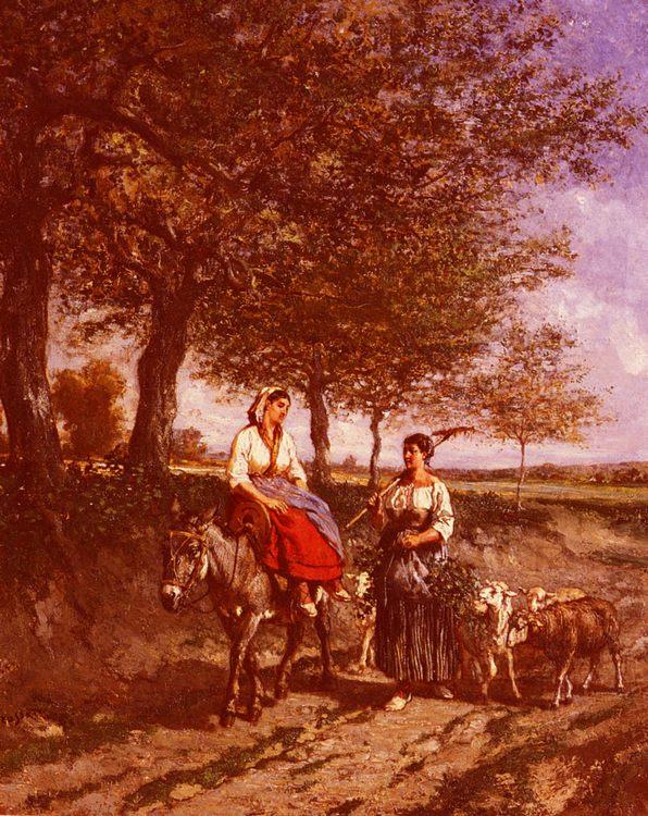 The Return Home :: Jules Jacques Veyrassat - Village life ôîòî