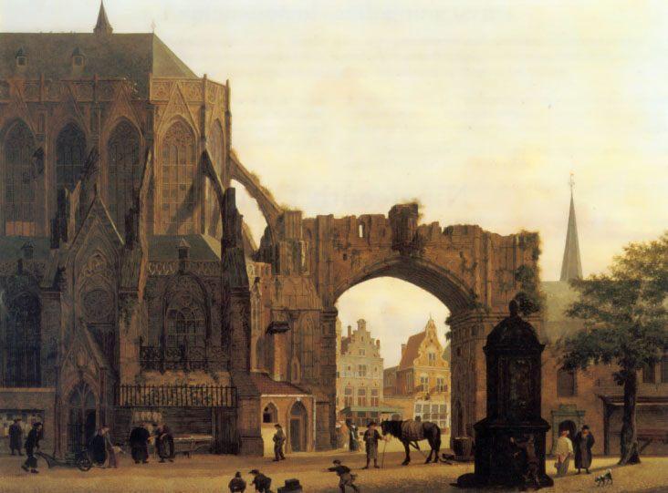 Figures Near a Church :: Jules Verheyen - Architecture ôîòî