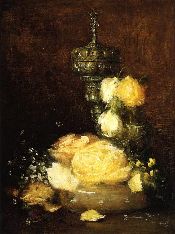 Silver Chalice with Roses :: Julian Alden Weir - flowers in painting фото