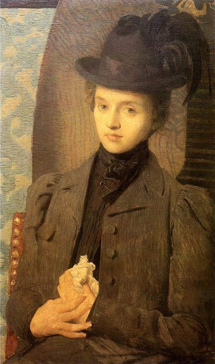 The Black Hat :: Julian Alden Weir - 7 female portraits ( the end of 19 centuries ) in art and painting ôîòî