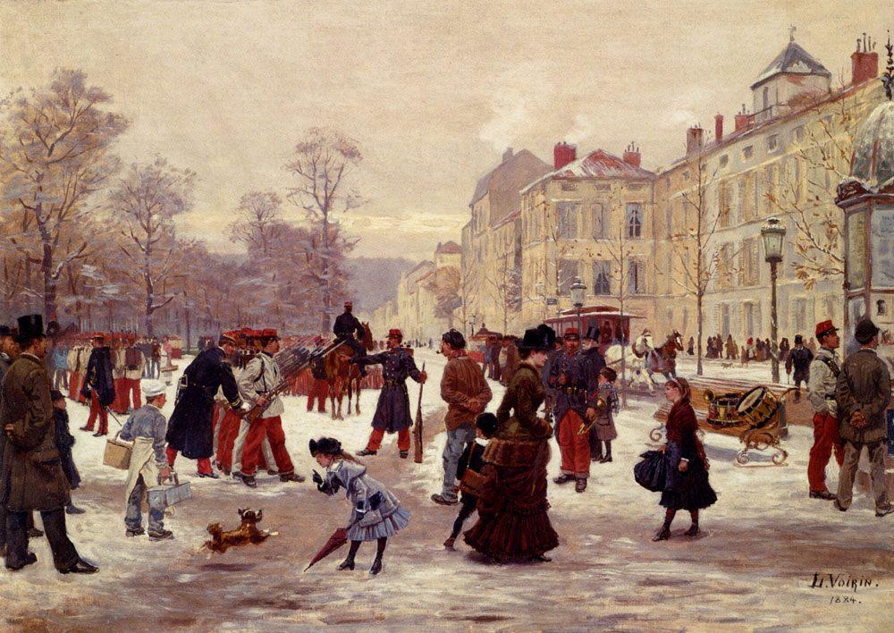 A Winter's Day :: Leon Joseph Voirin - Street and market genre scenes фото