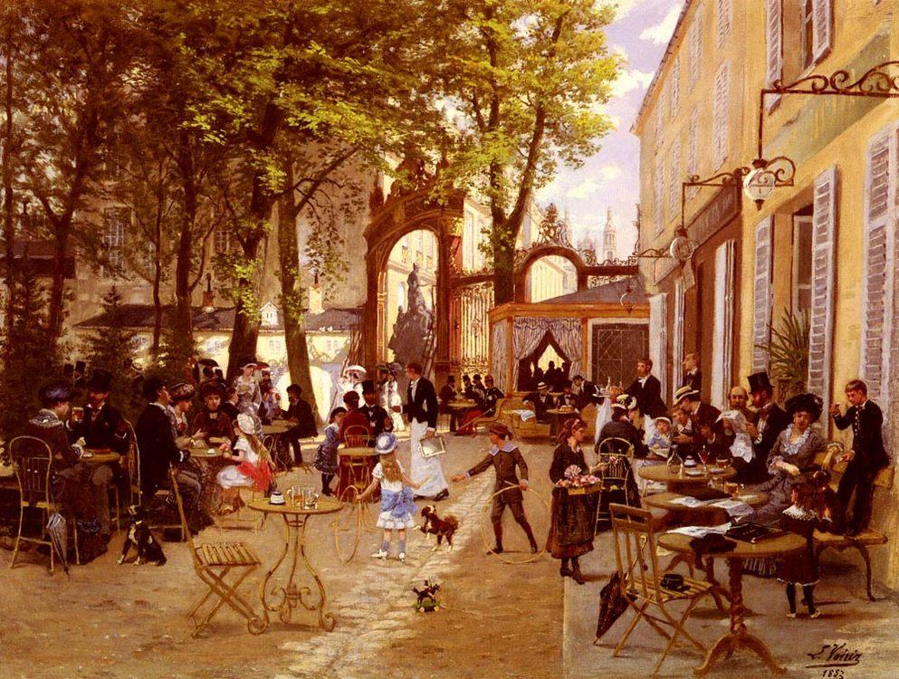 The cafe terrace :: Leon Joseph Voirin  - Street and market genre scenes ôîòî