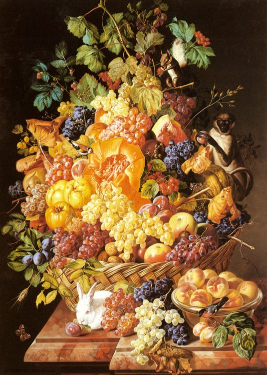 A Basket of Fruit with Animals :: Leopold Zinnogger - Still-lives with fruit фото