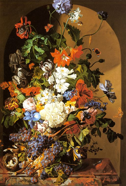 A Still Life with Flowers and Grapes :: Leopold Zinnogger - flowers in painting ôîòî