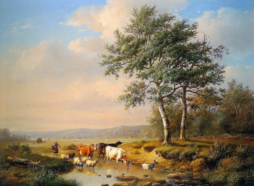 An Extensive Landscape with Cattle Watering :: Louis Pierre Verwee - Summer landscapes and gardens фото
