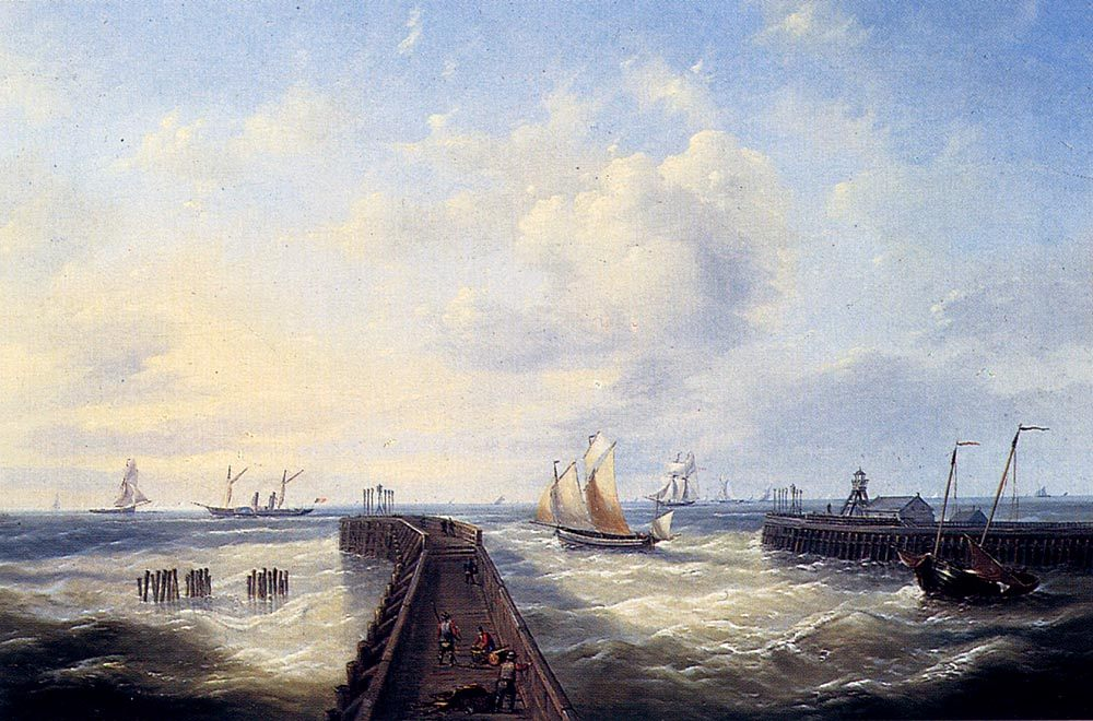 Fishing Boats Off A Jetty At Ostend :: Louis Verboeckhoven - Sea landscapes with boats ôîòî