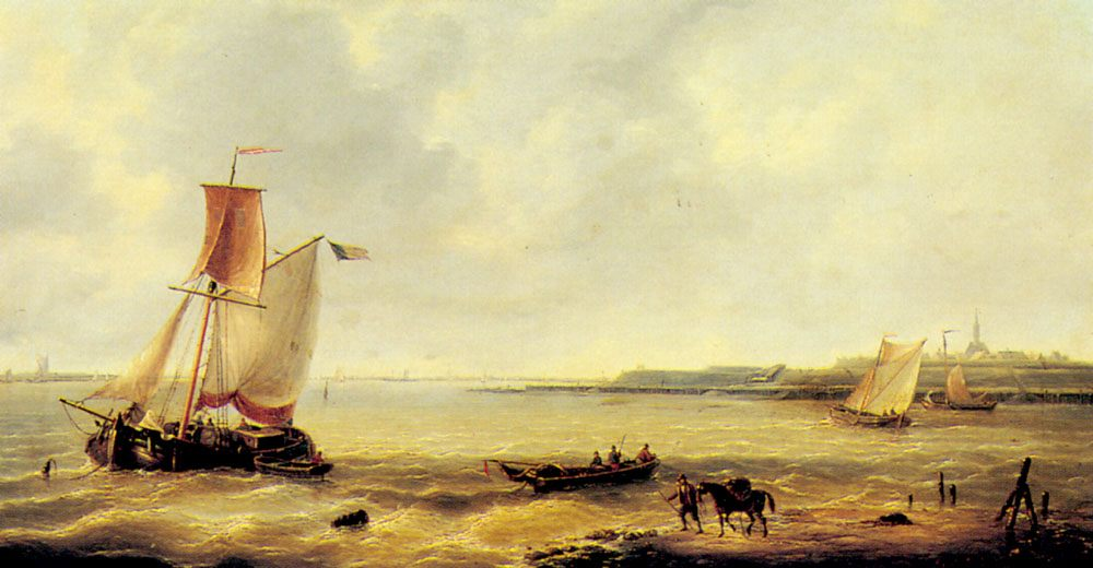 Fishing off a Jetty with a Village Beyond :: Louis Verboeckhoven - Sea landscapes with boats ôîòî