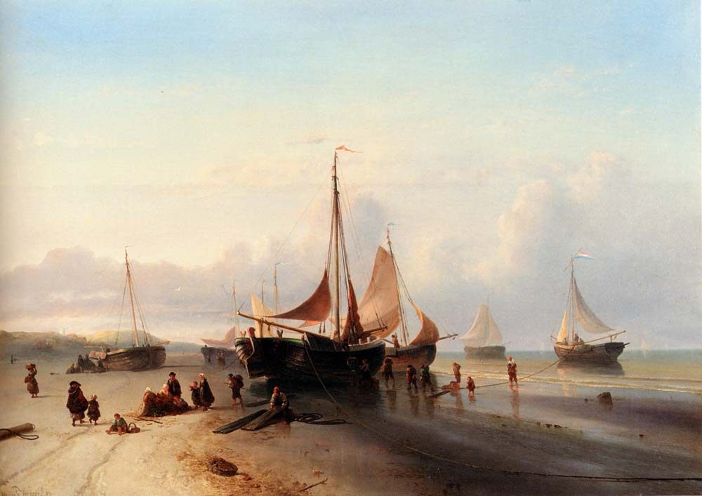 Moored Fishing Fleet On The Beach Of Scheveningen :: Mauritz Verveer - Sea landscapes with boats ôîòî