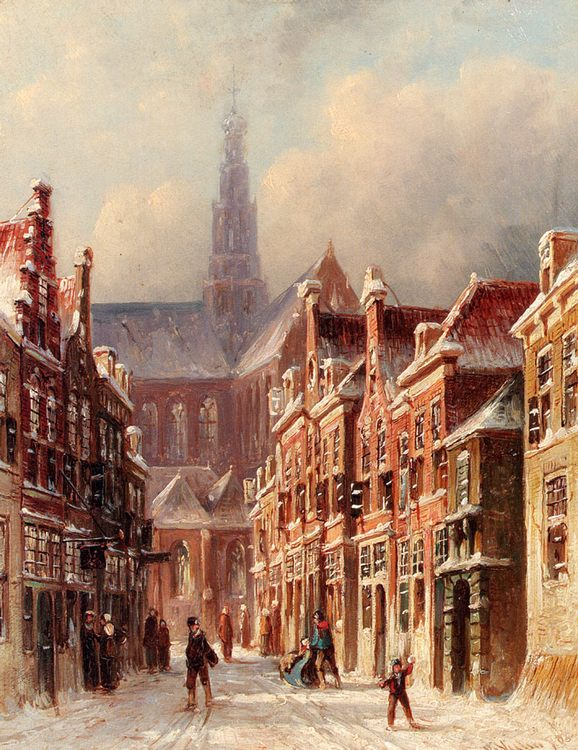 A Snowy Street With The St. Bavo Beyond, Haarlem :: Pieter Gerard Vertin - Holland and Dutch ôîòî