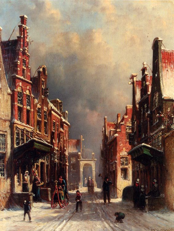 A Town View In Winter With Figures Conversing On Porches And Children Throwing Snowballs ::Pieter Gerard Vertin  - Holland and Dutch ôîòî