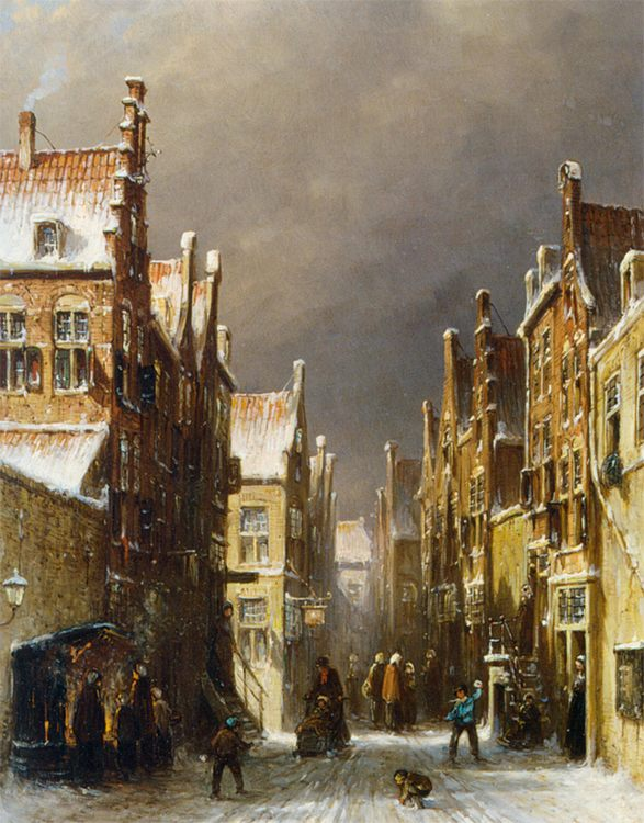 Figures in the Snow Covered Streets of a Dutch Town :: Pieter Gerard Vertin - Holland and Dutch фото
