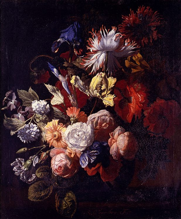 Still Life Of Irises, Poppies, Roses, Tulips, Peonies, Snowballs And Other Flowers In A Vase On A Stone Ledge :: Simon Pietersz  - flowers in painting фото