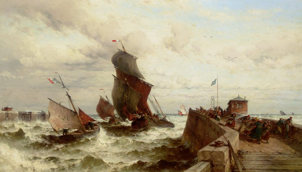 Ships Entering a Port in a Storm :: Theodor Alexander Weber - Sea landscapes with ships фото