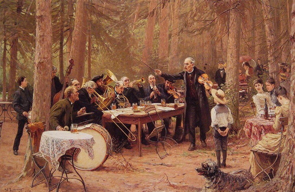 The Orchestra, Biergarten :: Wilhelm Carl August Zimmer - Picnic фото