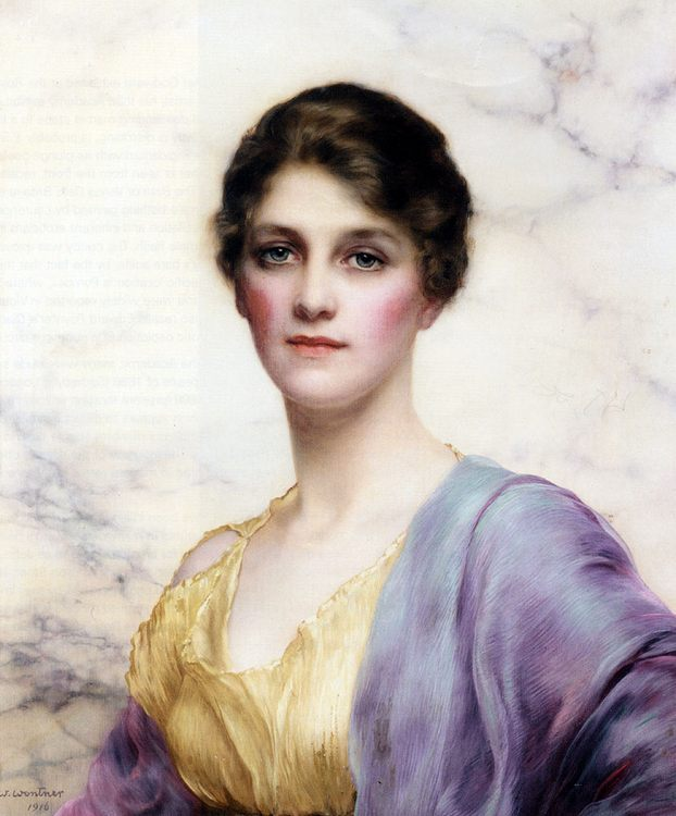 An Emerald-Eyed Beauty :: William Clarke Wontner - Young beauties portraits in art and painting фото